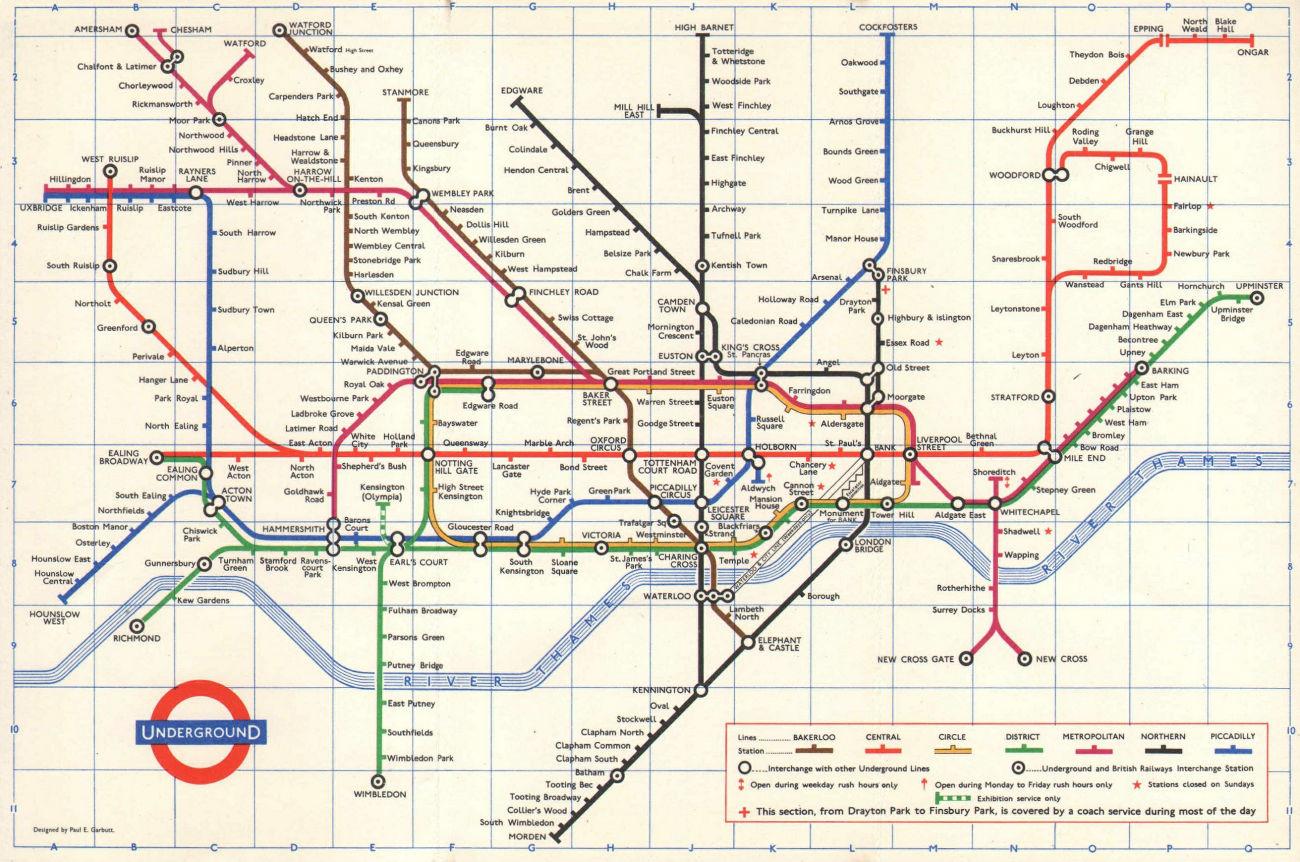 LONDON UNDERGROUND diagram of lines tube map. Ongar. Essex Rd. GARBUTT 1966