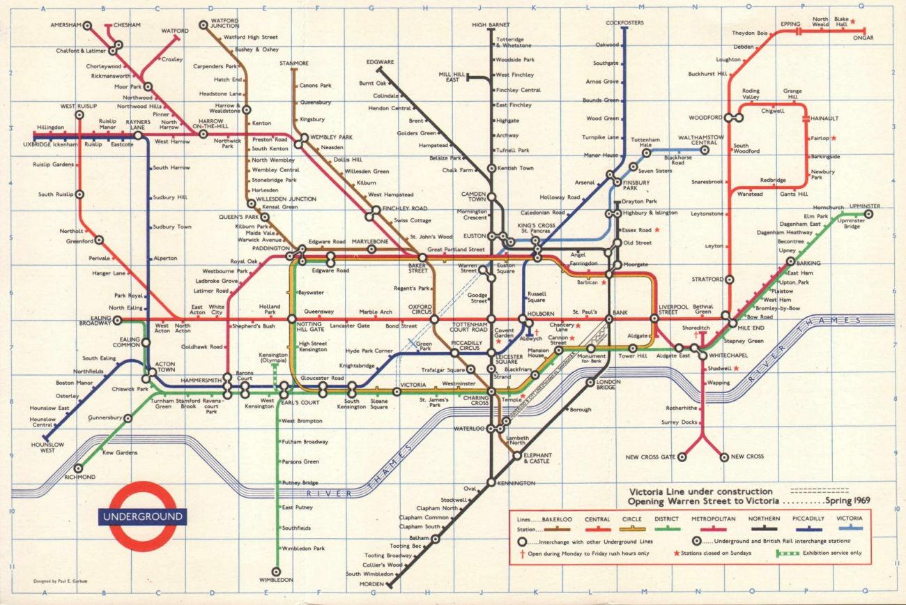 LONDON UNDERGROUND tube map. Victoria Line under construction. GARBUTT #3 1968