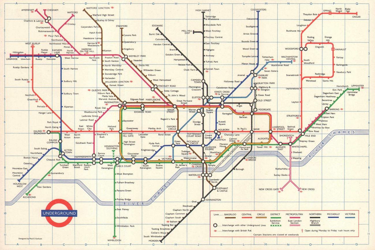 LONDON UNDERGROUND tube map plan. Victoria Line open to Victoria. GARBUTT 1970