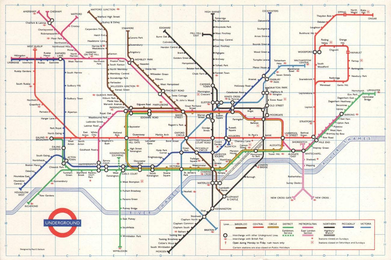 LONDON UNDERGROUND tube map plan. Victoria Line no Pimlico. GARBUTT #1 1972