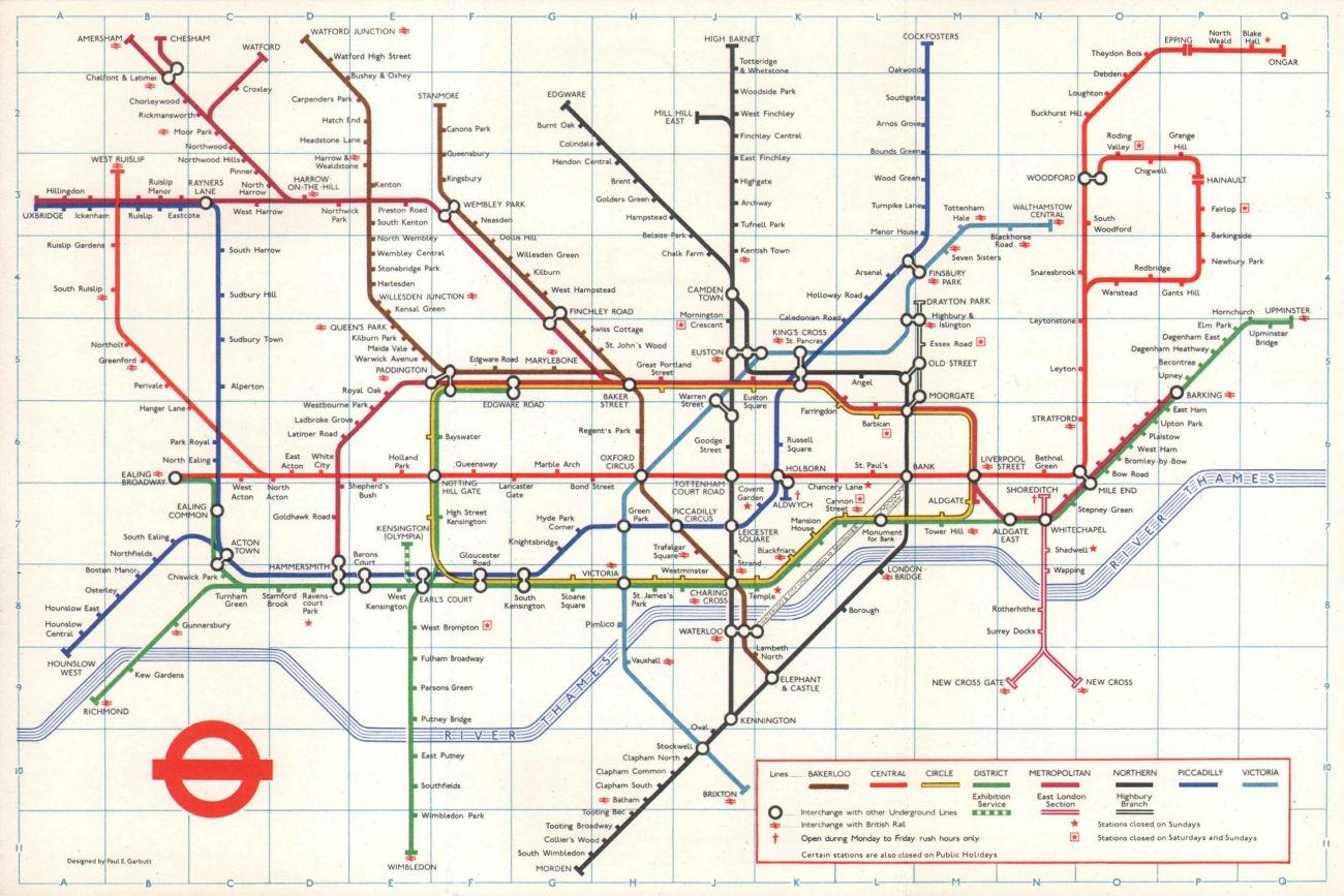 LONDON UNDERGROUND tube map plan. Victoria Line complete. PAUL GARBUTT #2 1972