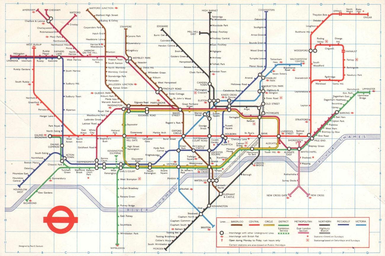 LONDON UNDERGROUND tube map plan. Victoria Line completed. GARBUTT #2 1972
