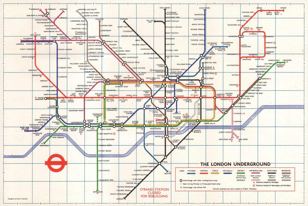 LONDON UNDERGROUND tube map plan. Victoria Line. Strand closed. GARBUTT #2 1974