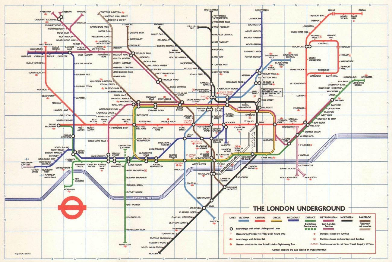 LONDON UNDERGROUND tube map. Heathrow Central under construction GARBUTT #2 1975