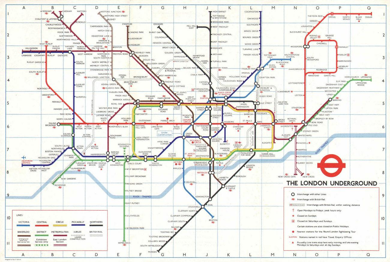 LONDON UNDERGROUND tube map. Jubilee line under construction. GARBUTT #2 1978