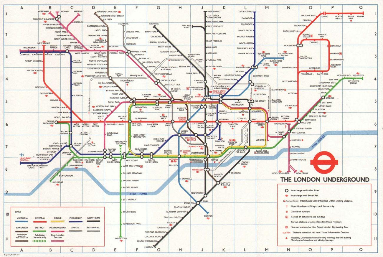 LONDON UNDERGROUND tube map. Jubilee line & Heathrow Central. GARBUTT #1 1979