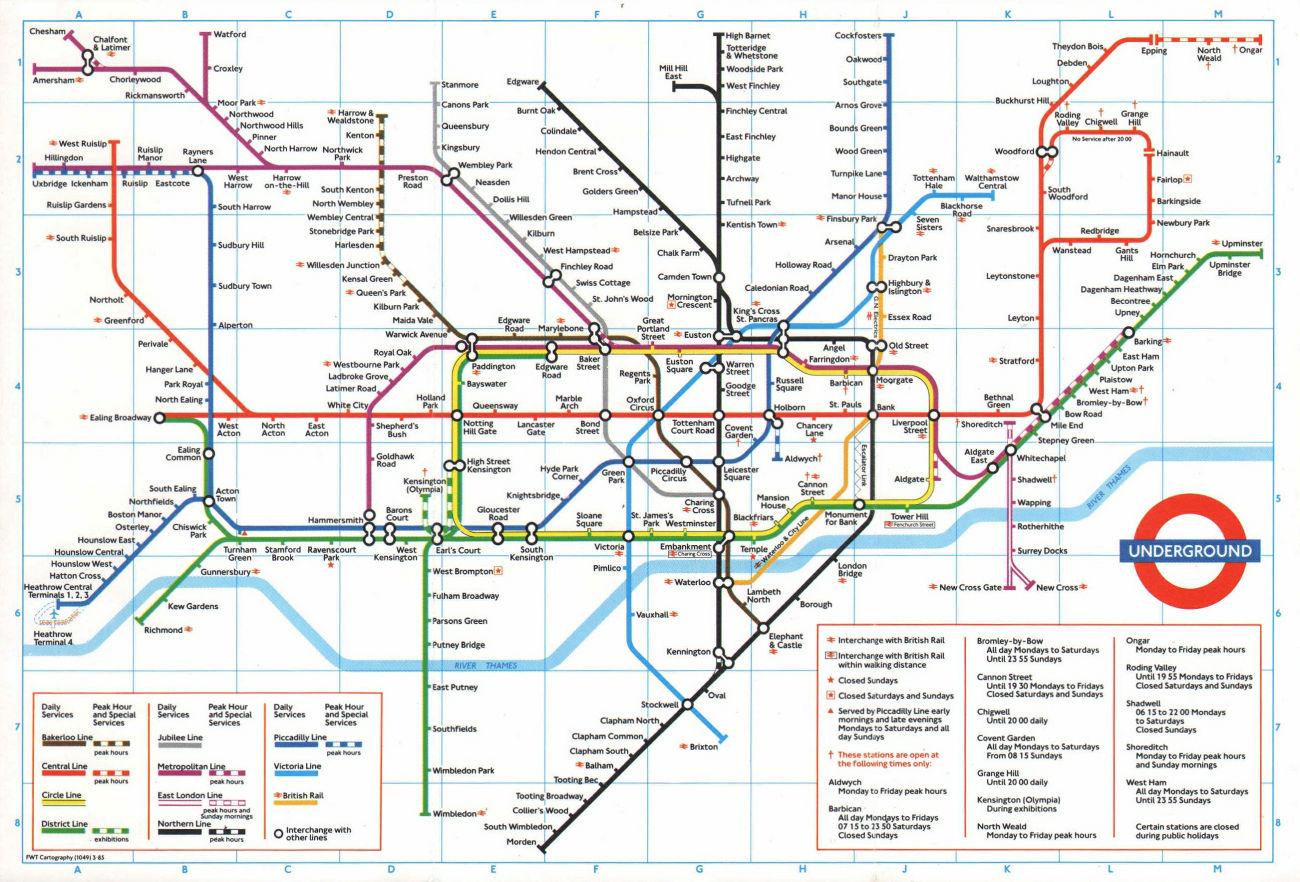 LONDON UNDERGROUND tube map. Heathrow Terminal 4 under construction. REF A 1985