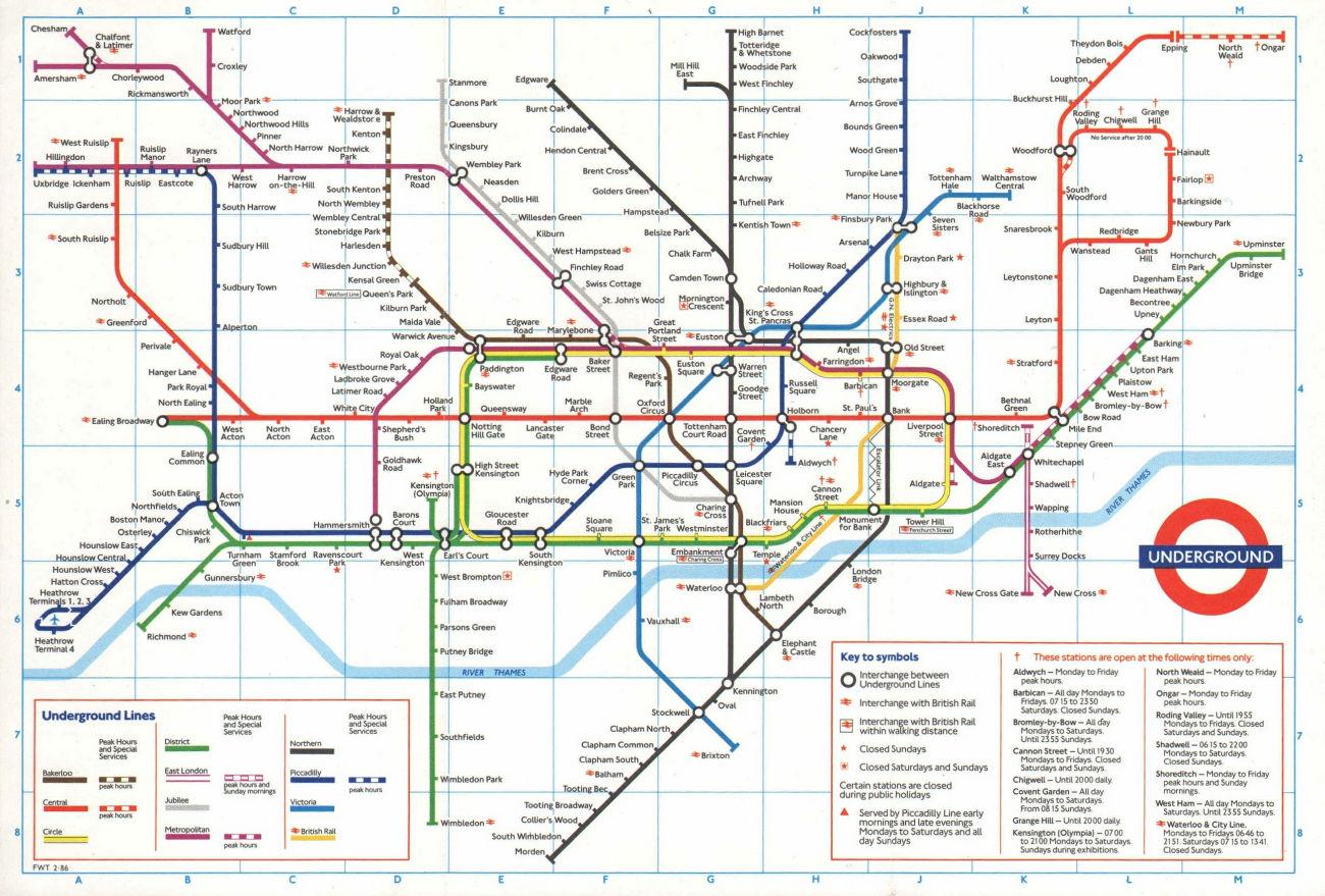 LONDON UNDERGROUND tube plan map. Heathrow Terminal 4 complete. #1 1986