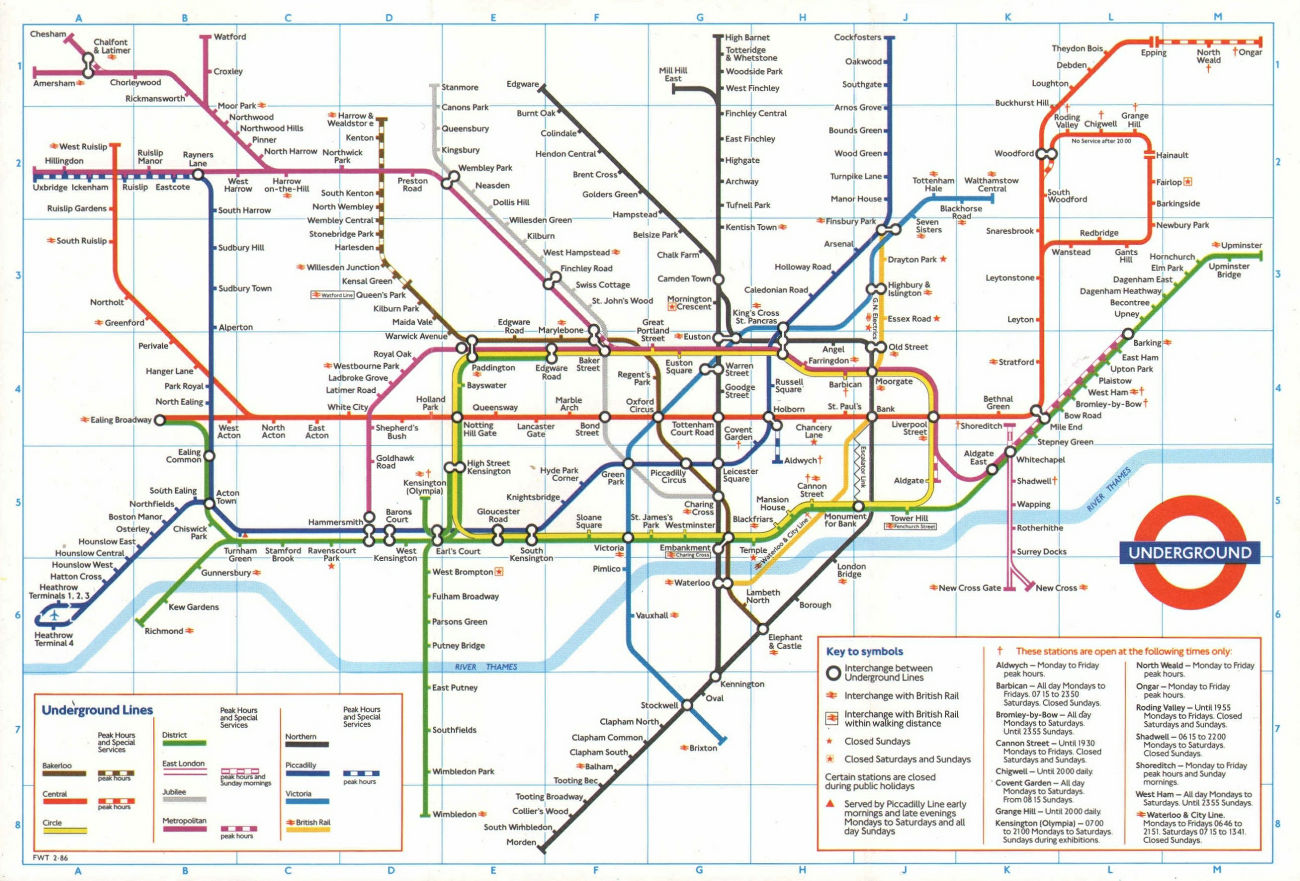 LONDON UNDERGROUND tube plan map. Heathrow Terminal 4 complete. #2 1986