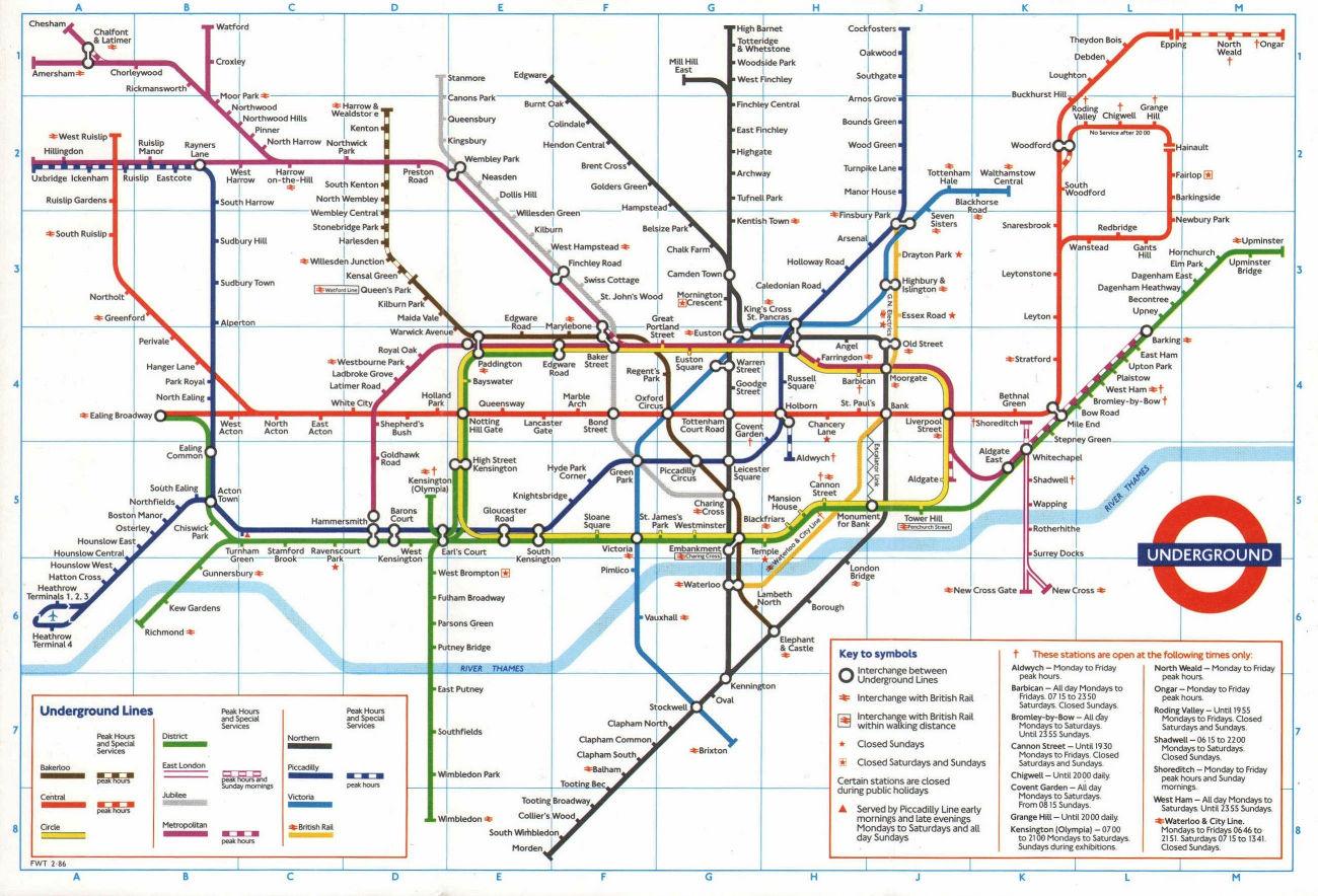LONDON UNDERGROUND tube plan map. Heathrow Terminal 4 complete. #1 1987