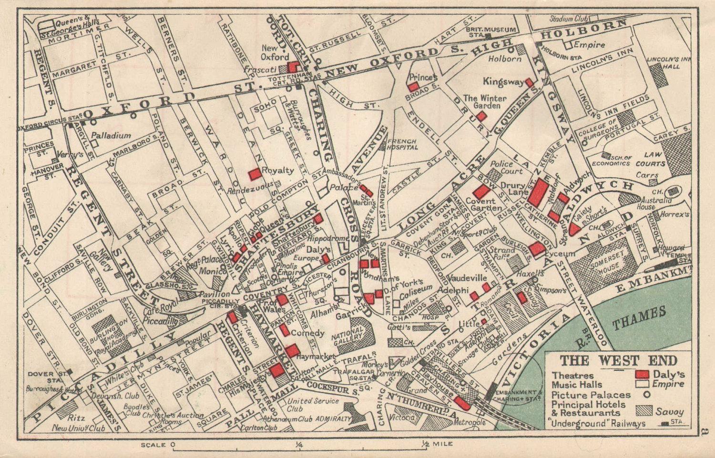 LONDON WEST END. Theatres Cinemas. Principal Hotels Restaurants. BACON 1925 map