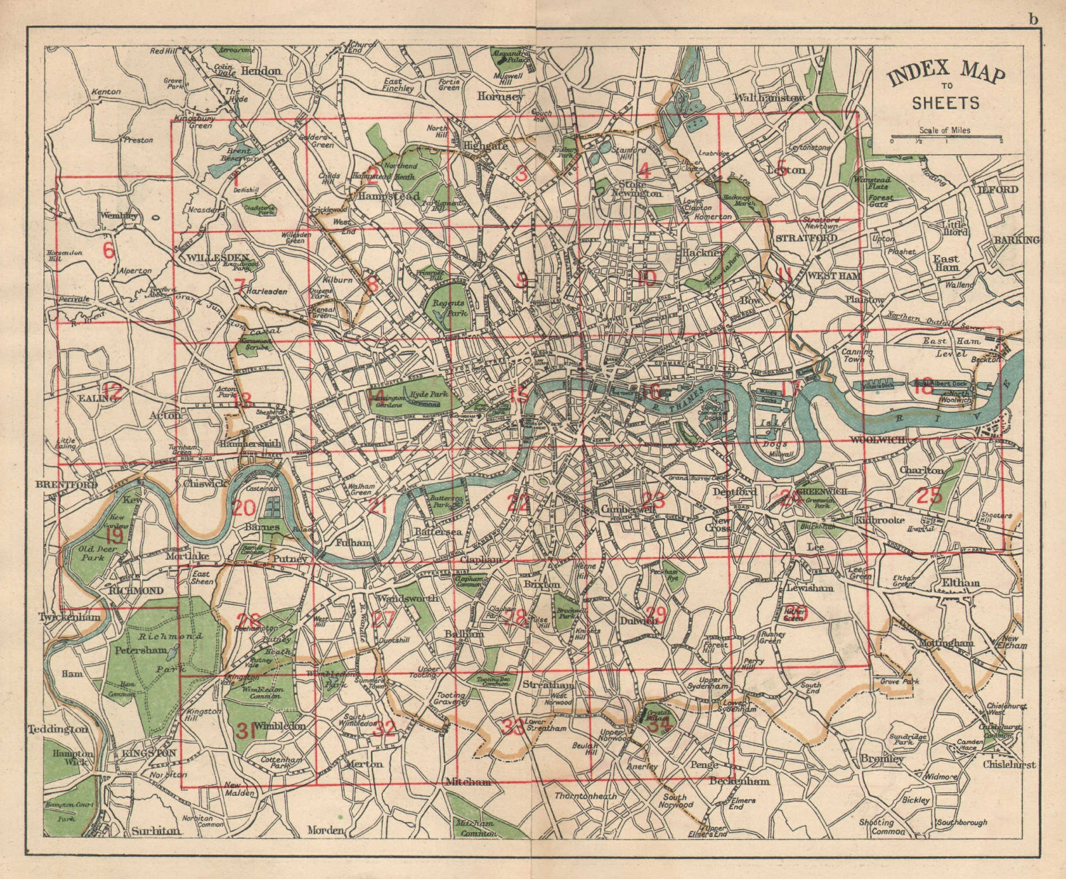 LONDON. Index map. Roads. BACON 1925 old vintage plan chart