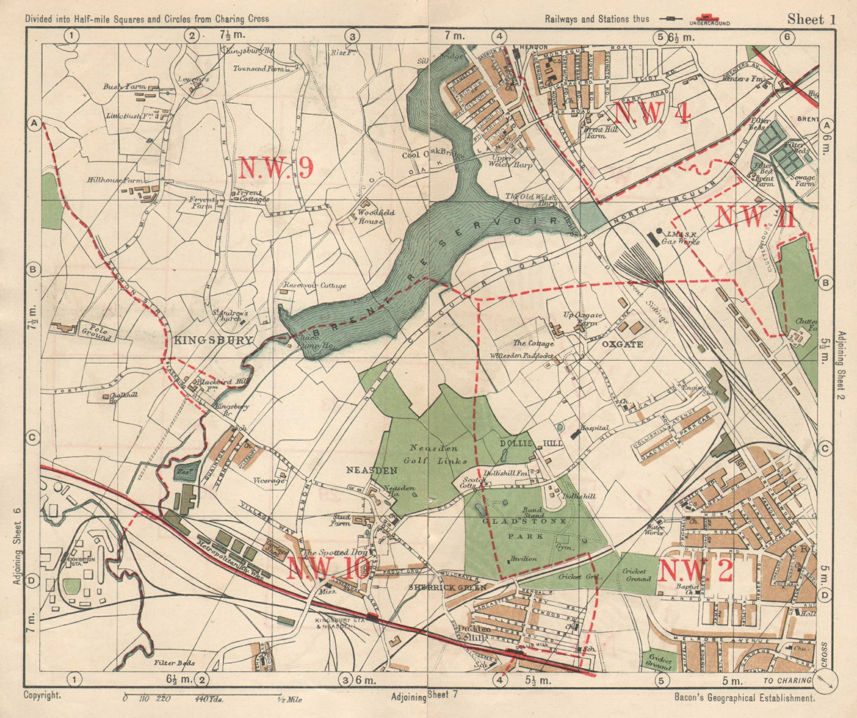 NW LONDON. Neasden Cricklewood Hendon Kingsbury Oxgate Brent. BACON 1925 map