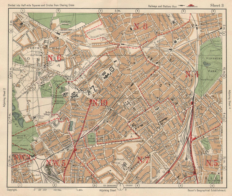 N LONDON. Highgate Crouch End Holloway Finsbury Park Gospel Oak. BACON 1925 map