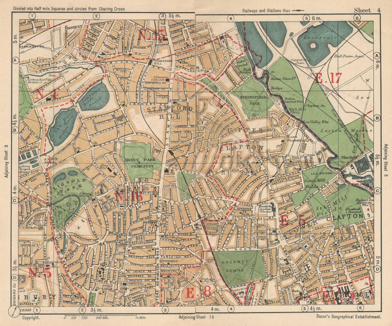 NE LONDON. Stoke Newington Stamford Hill Clapton South Tottenham BACON 1925 map