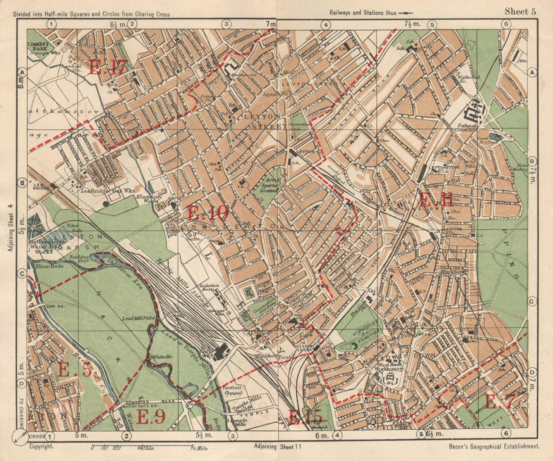 NE LONDON. Leyton Leytonstone Hackney Marshes Knotts Green. BACON 1925 old map