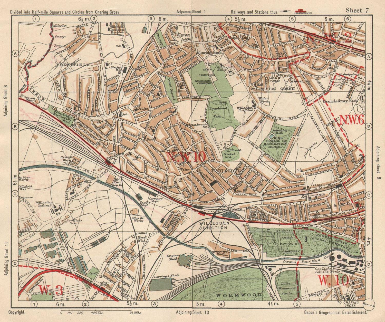 NW LONDON Willesden Harlesden Kensal Green Brentfield Park Royal.BACON 1925 map