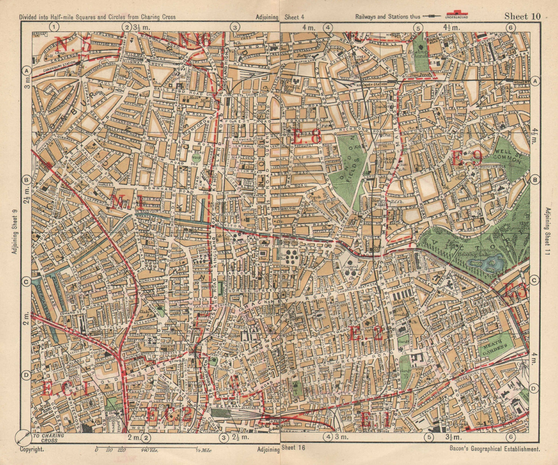 NE LONDON. Hackney Bethnal Green Shoreditch Hoxton Canonbury. BACON 1925 map