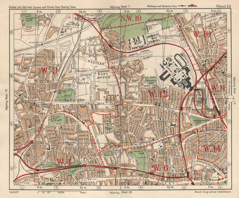 W LONDON. Acton Shepherd's Bush Brook Green West Kensington. BACON 1925 map