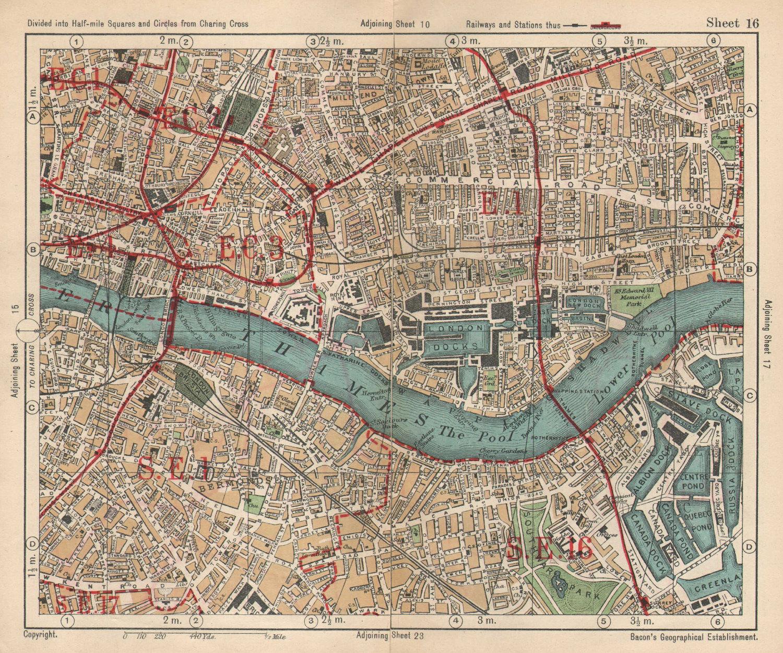 LONDON. City East End Bermondsey Stepney Rotherhithe Whitechapel.BACON 1925 map