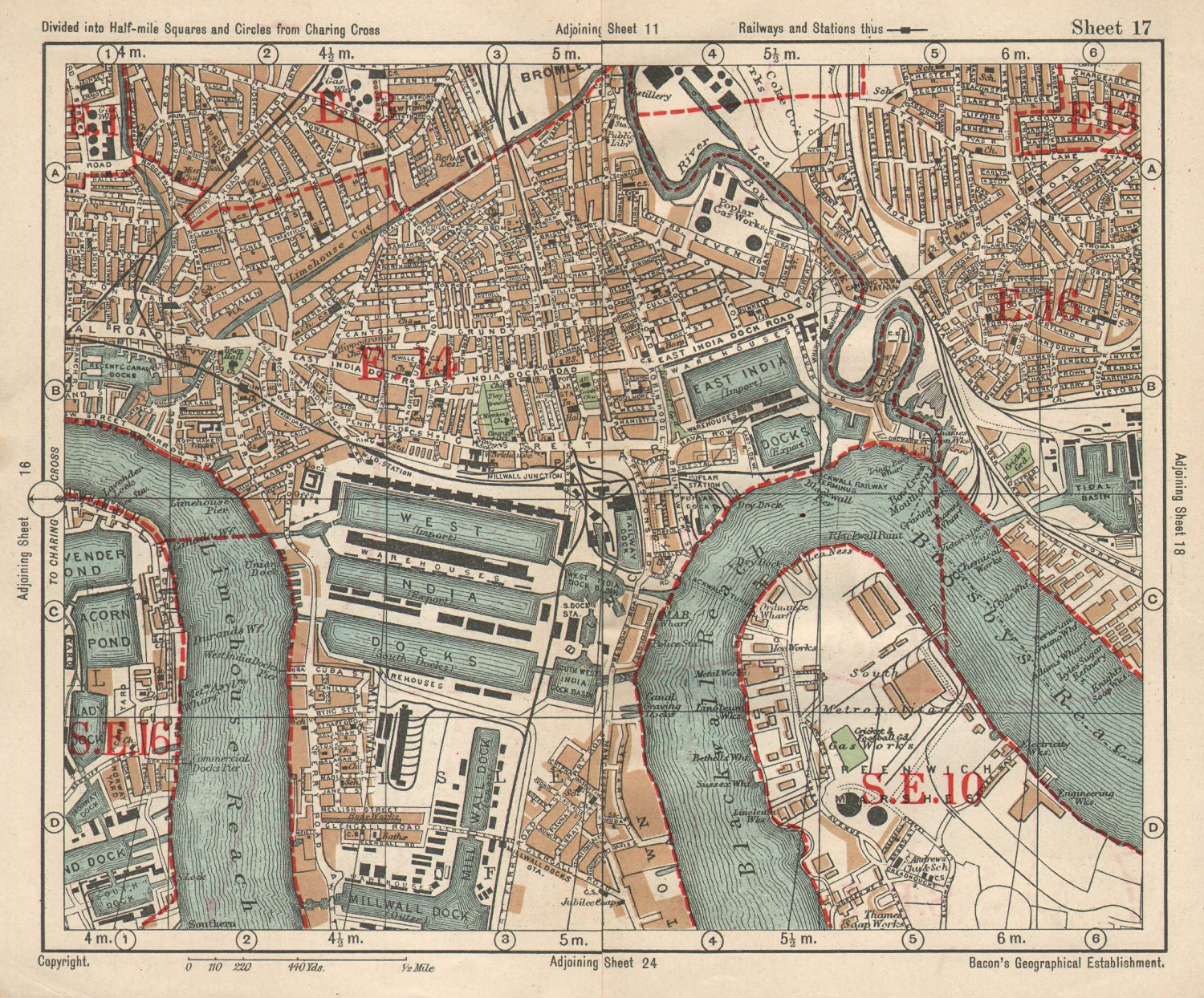 E LONDON Surrey Docks Isle of Dogs Canning Town Poplar Limehouse.BACON 1925 map
