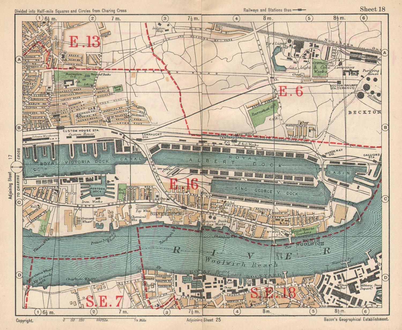 E LONDON Royal Victoria/Albert Docks Beckton Woolwich Silvertown.BACON 1925 map
