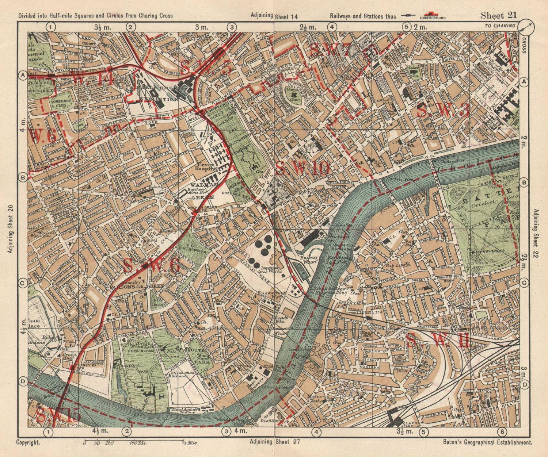 SW LONDON. Fulham Chelsea Battersea Walham/Parson's Green. BACON 1925 old map