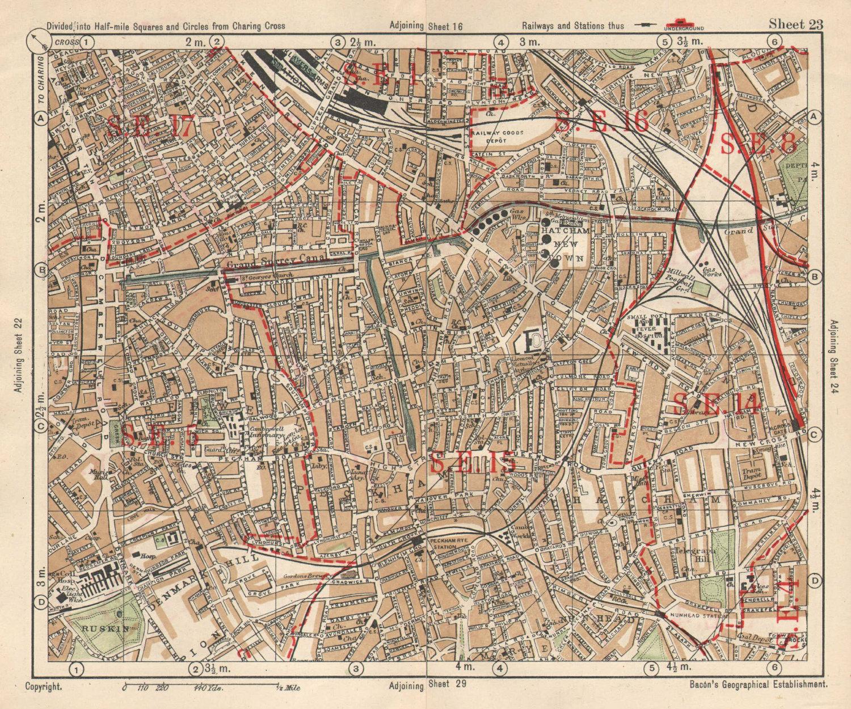 SE LONDON. Peckham Camberwell Hatcham Denmark Hill Surrey canal. BACON 1925 map