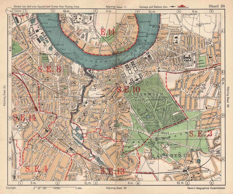 SE LONDON. Deptford Greenwich Cubitt Town Lewisham Blackheath. BACON 1925 map