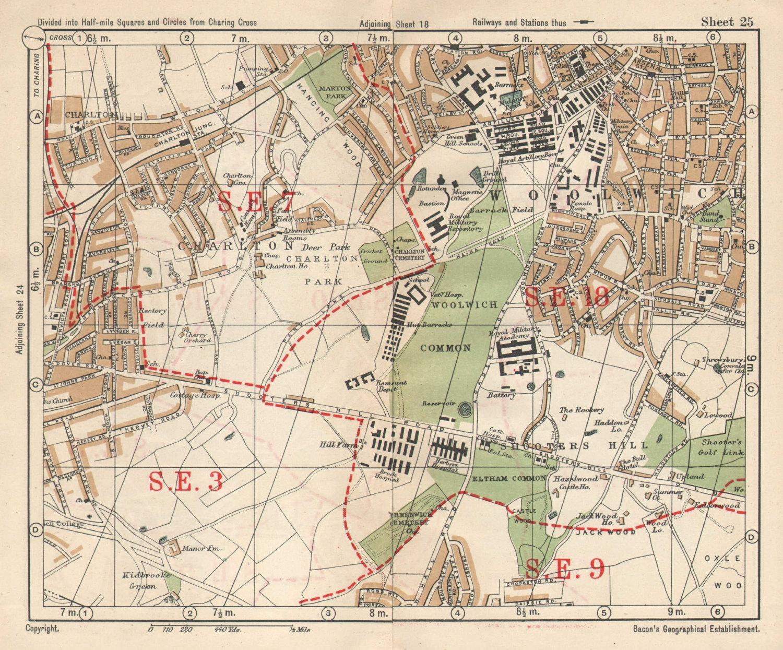 SE LONDON. Charlton Woolwich Shooters Hill Eltham Kidbrooke. BACON 1925 map