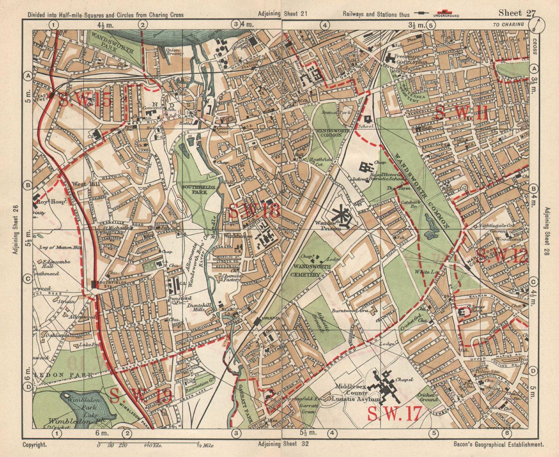 SW LONDON. Wandsworth E Putney Wimbledon Earlsfield Southfields. BACON 1925 map