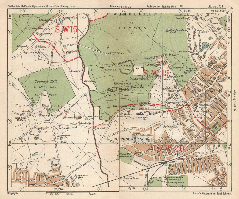 SW LONDON. Wimbledon Common Cottenham Park Malden Coombe Hill. BACON 1925 map