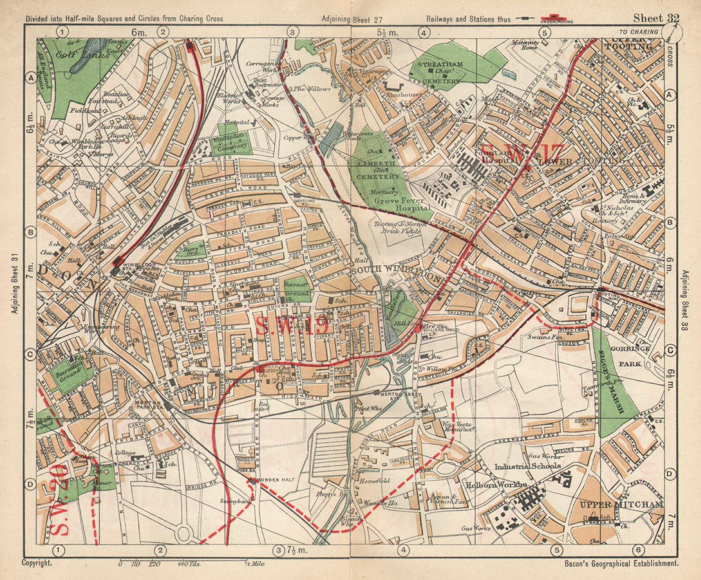 SW LONDON. Wimbledon Tooting Merton Morden Upper Mitcham. BACON 1925 old map