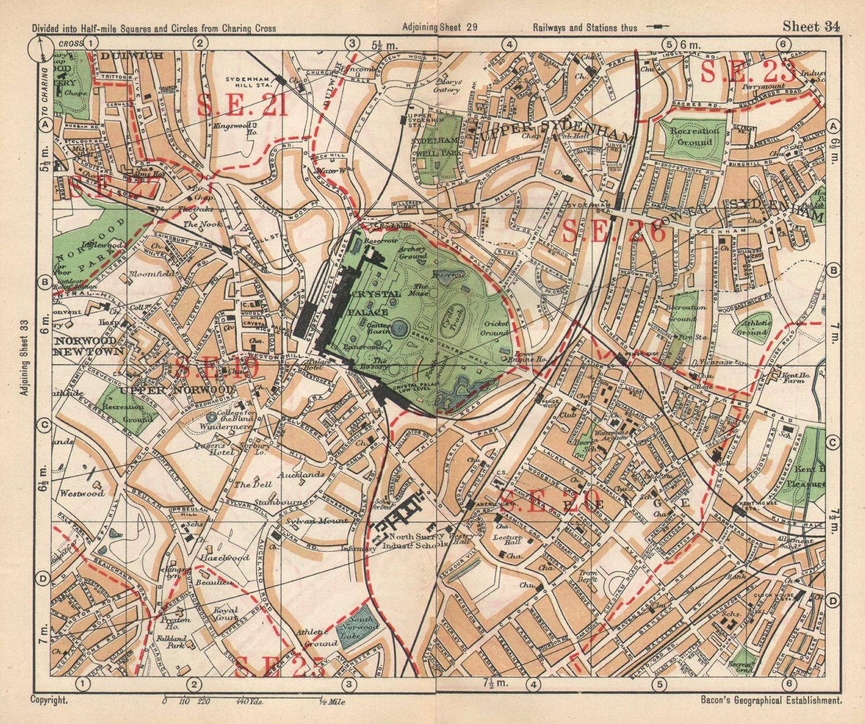 SE LONDON. Sydenham Upper Norwood Crystal Palace Sydenham Penge. BACON 1925 map