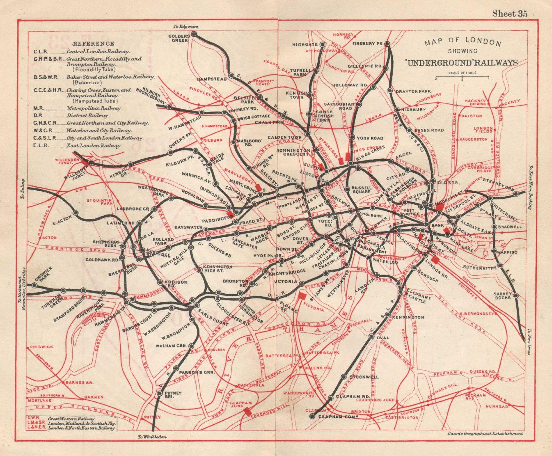 LONDON UNDERGROUND MAP. Tube & railways. BACON 1925 old vintage plan chart