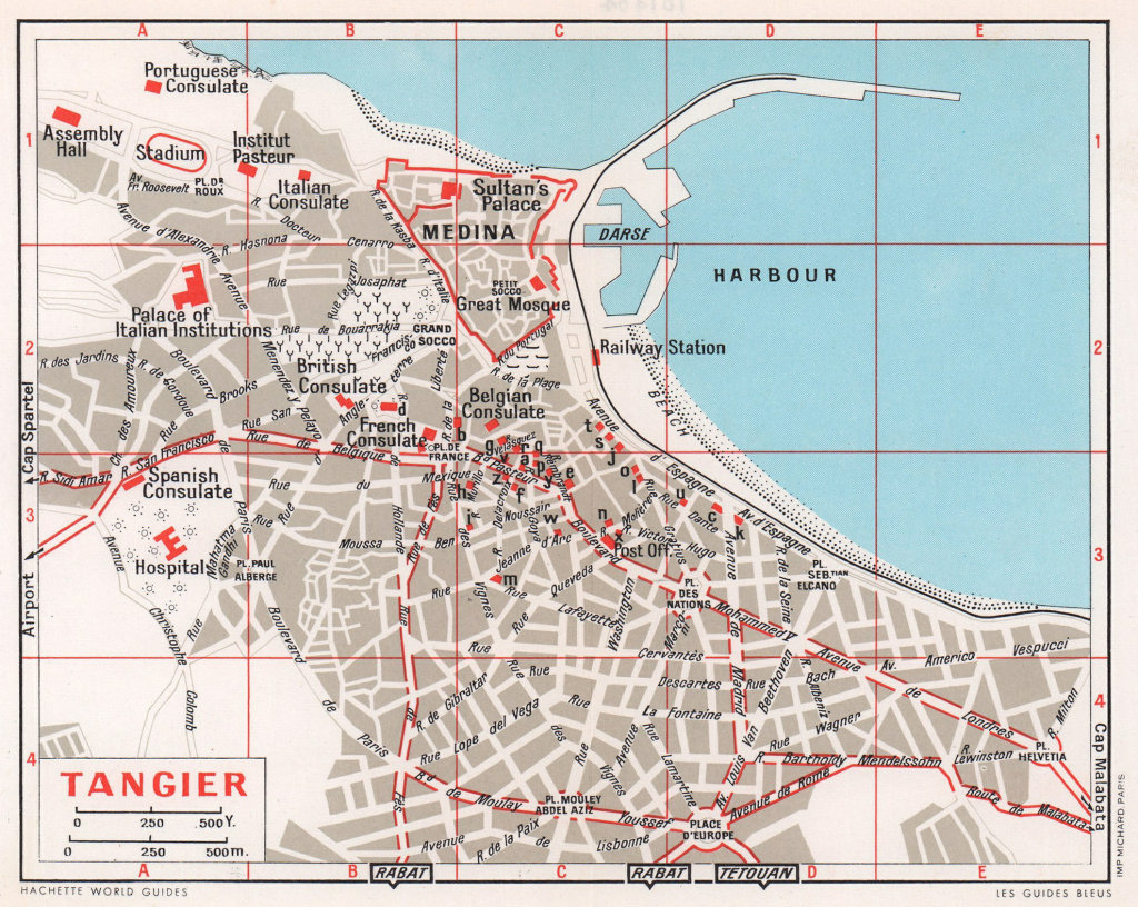 Tangier vintage town city tourist plan. Morocco 1966 old vintage map chart