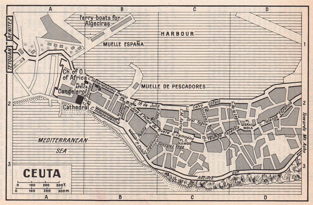 Ceuta vintage town city tourist plan. Spain / Morocco 1966 old vintage map