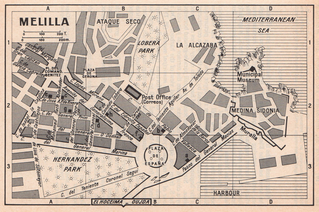 Melilla vintage town city tourist plan. Spain / Morocco 1966 old vintage map