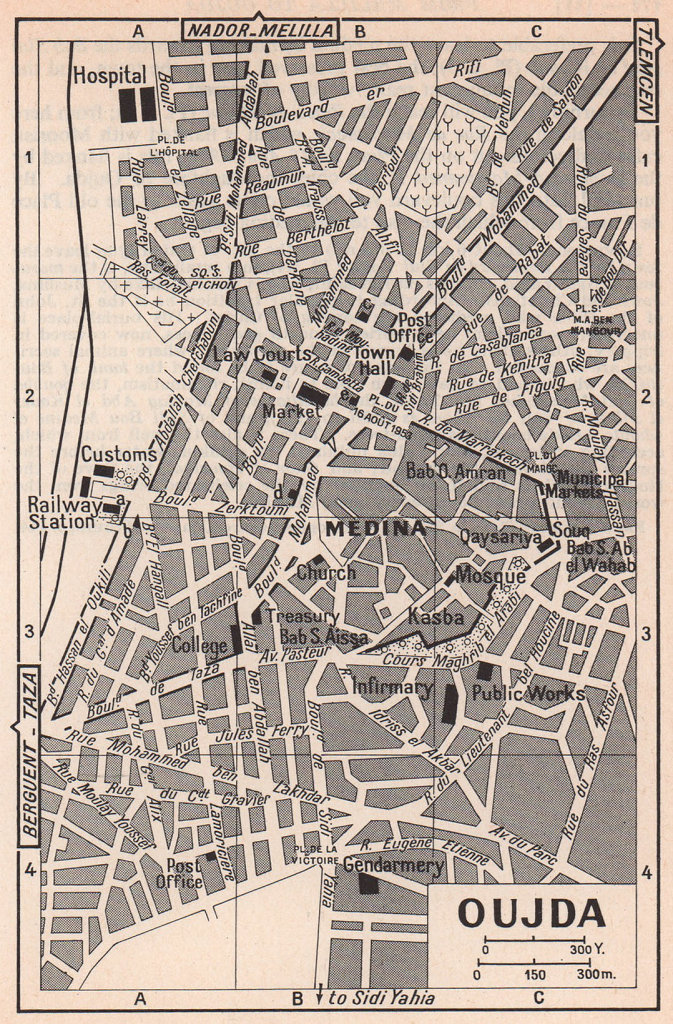 Oujda vintage town city tourist plan. Morocco 1966 old vintage map chart