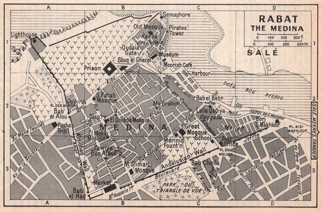 Rabat - the Medina vintage town city tourist plan. Morocco 1966 old map