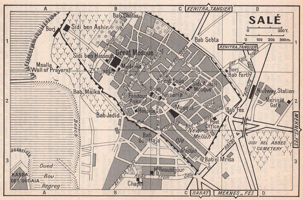 Salé vintage town city tourist plan. Morocco 1966 old vintage map chart