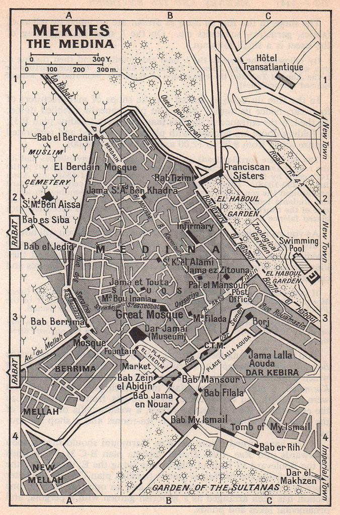Meknes - the Medina vintage town city tourist plan. Morocco 1966 old map