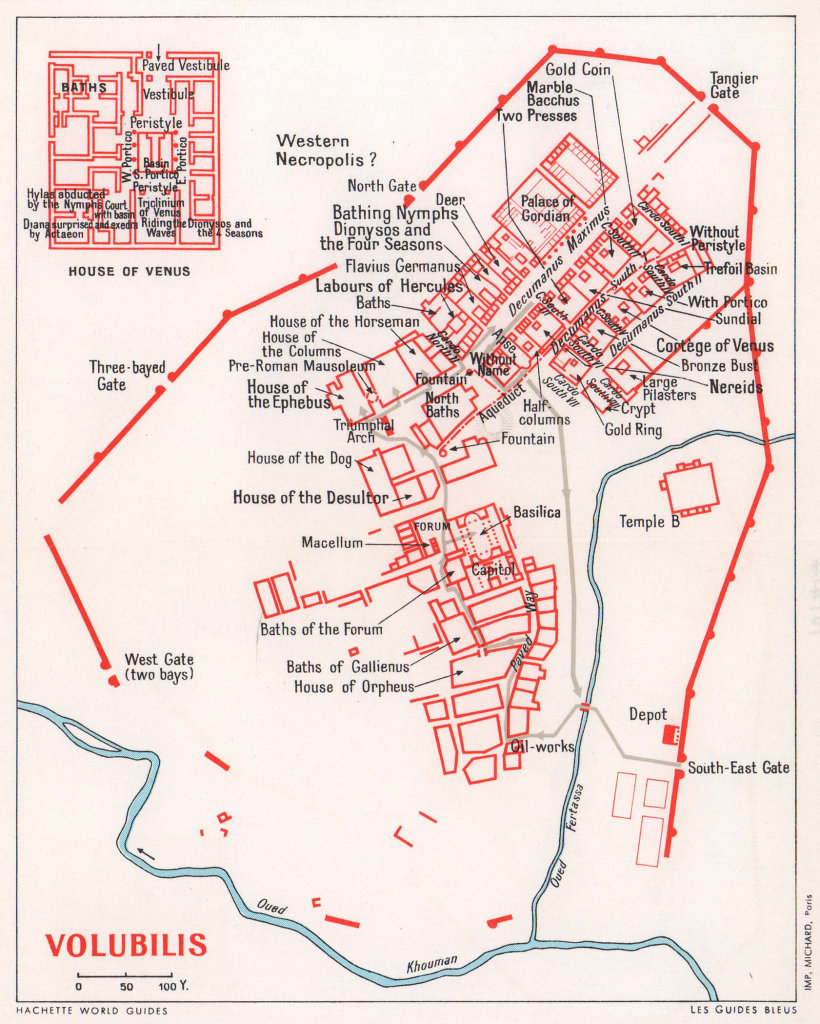 Volubilis vintage town city tourist plan. Morocco 1966 old vintage map chart