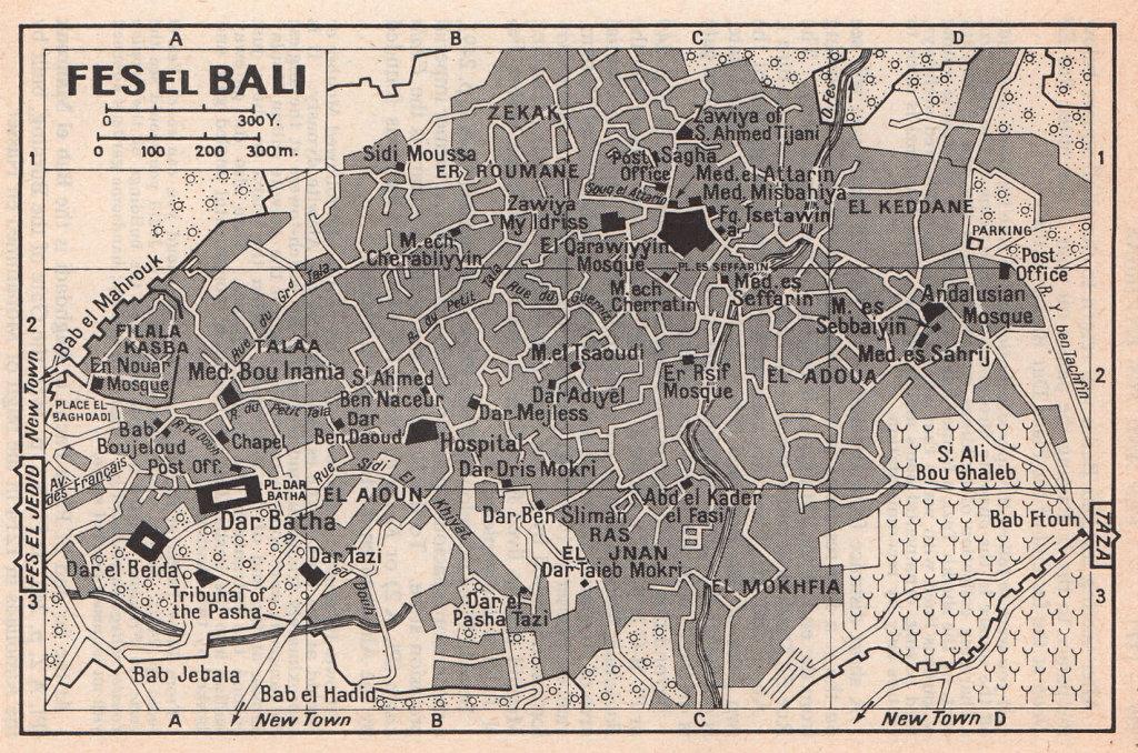 Fes el Bali vintage town city tourist plan. Fez, Morocco 1966 old vintage map