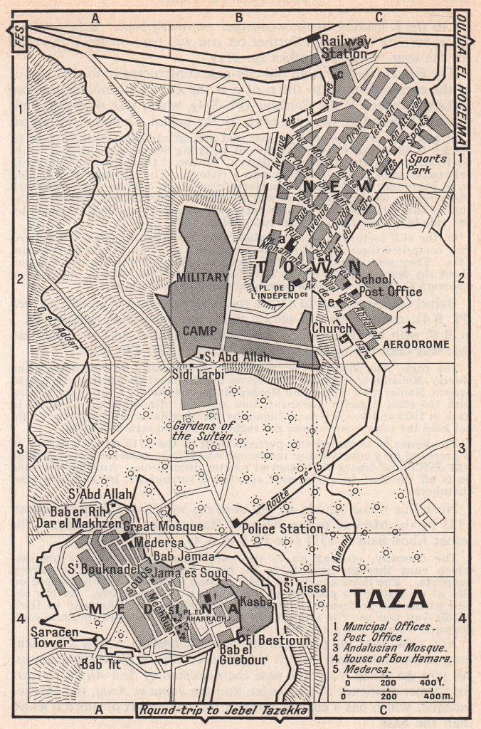 Taza vintage town city tourist plan. Morocco 1966 old vintage map chart
