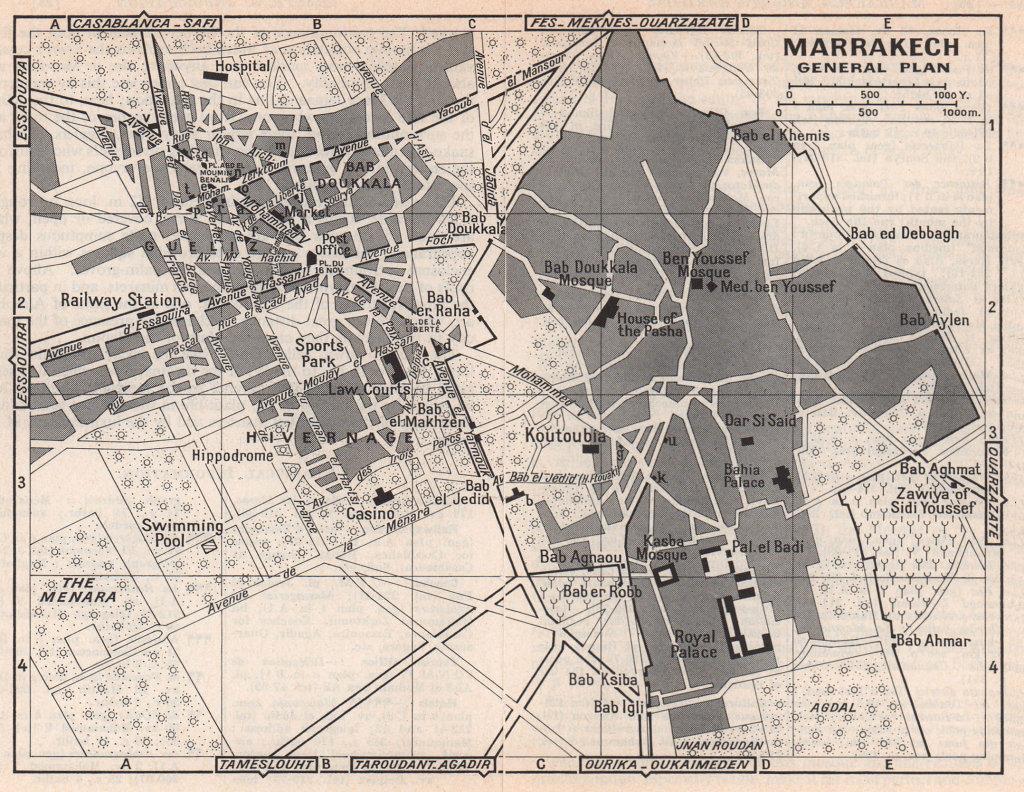 Marrakech - General map vintage town city tourist plan. Morocco 1966 old