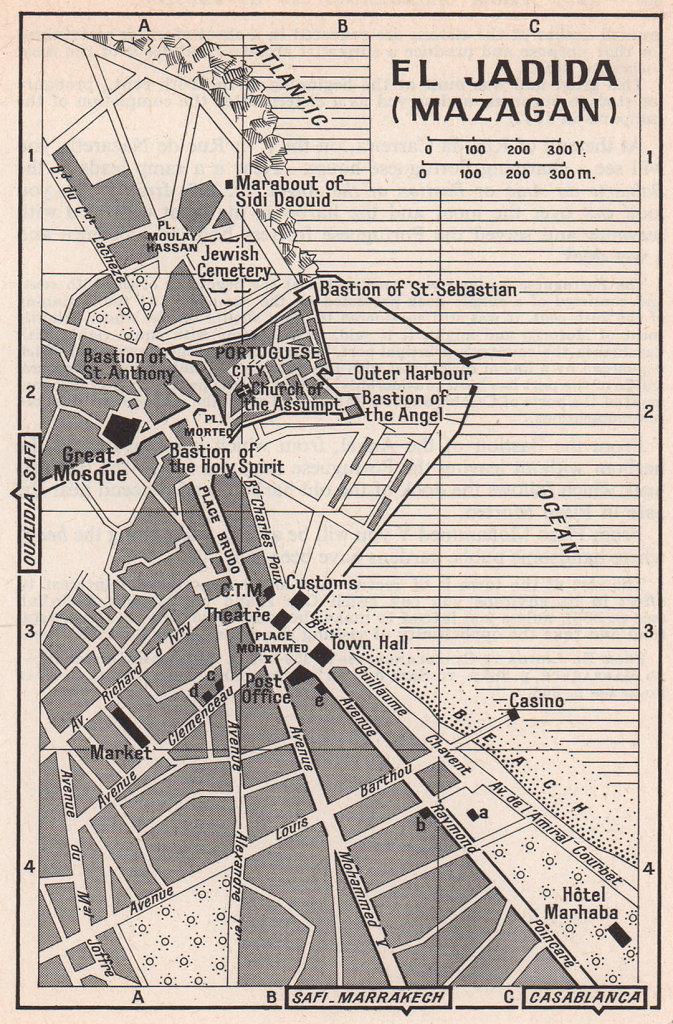El Jadida (Mazagan) vintage town city tourist plan. Morocco 1966 old map