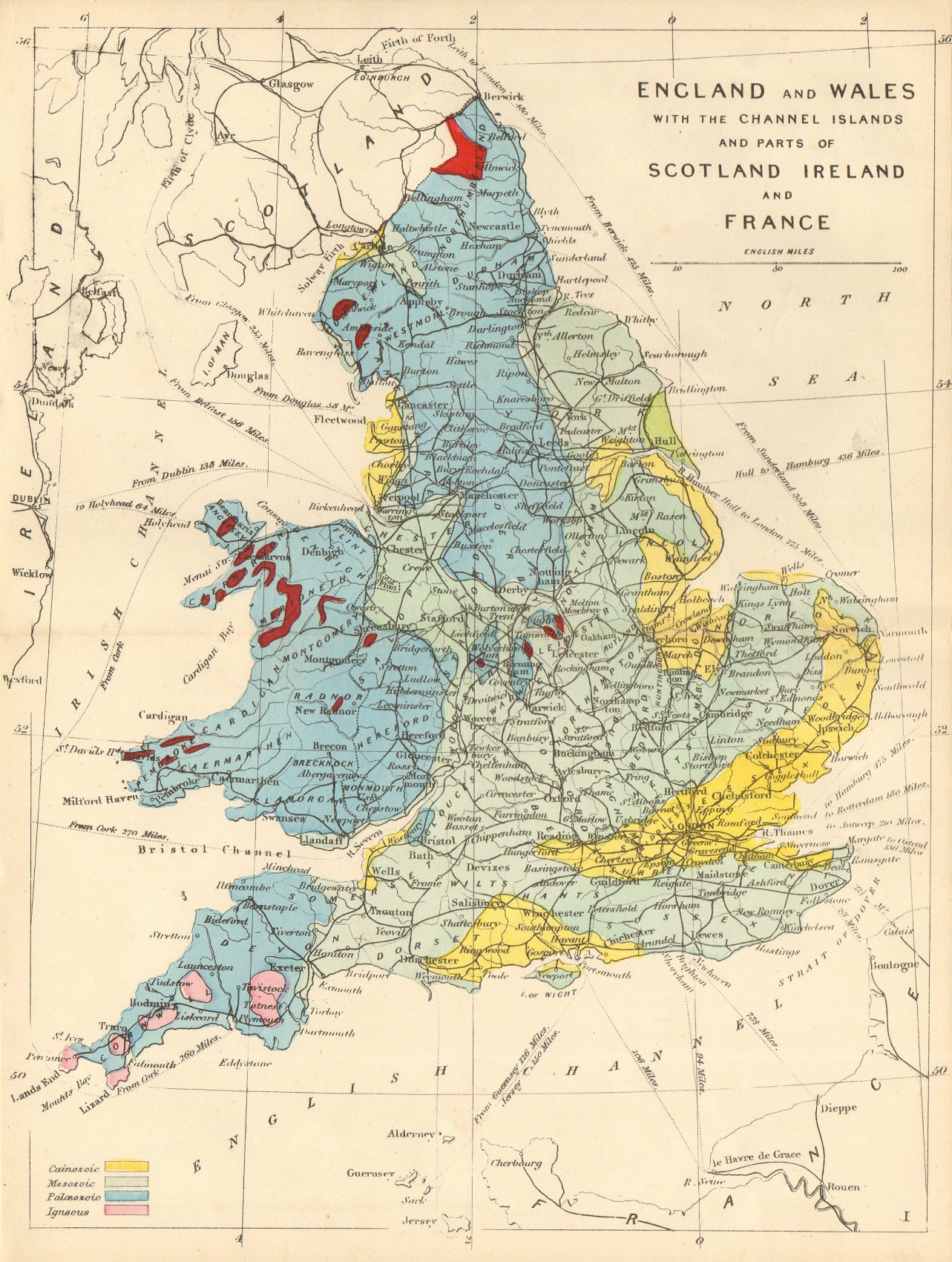 ENGLAND & WALES antique geological map by James Reynolds 1864