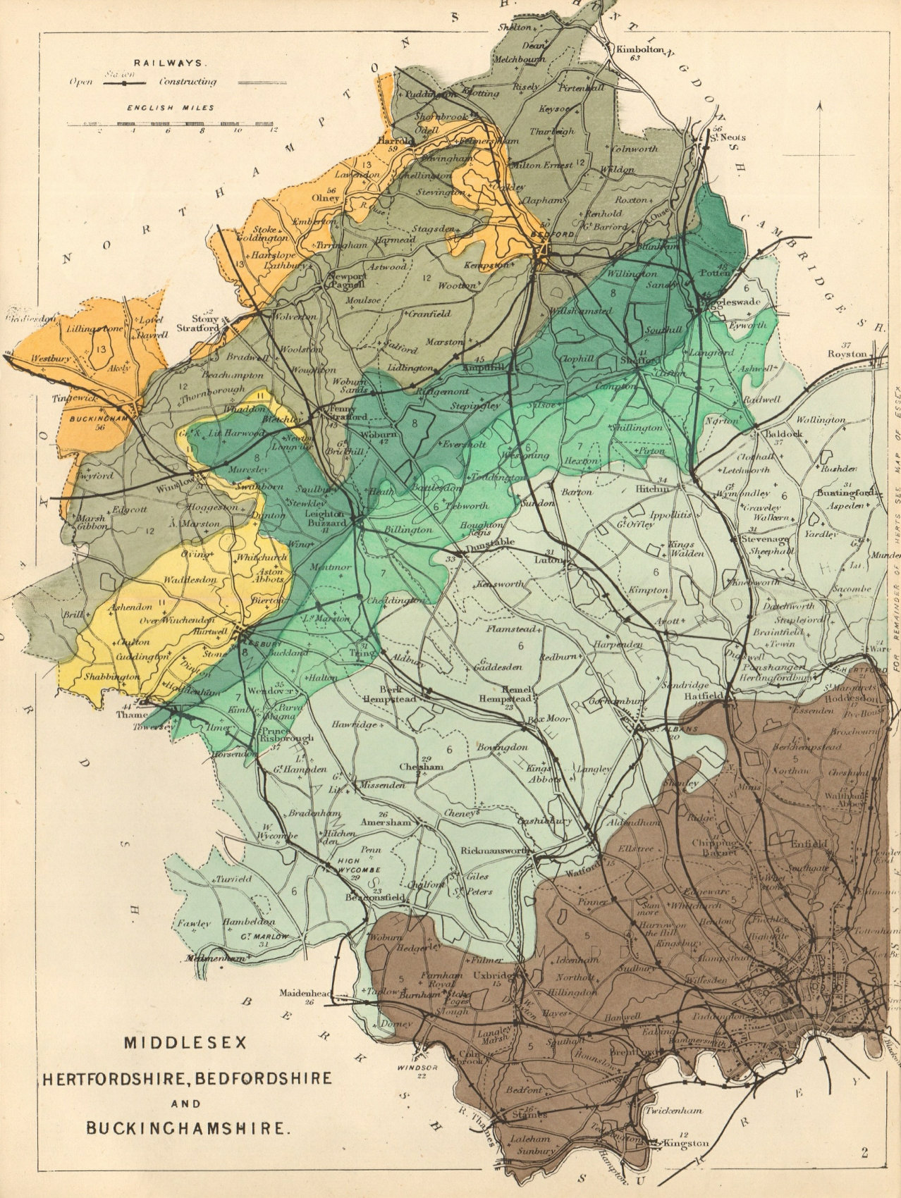 MIDDX HERTFORDSHIRE BEDFORDSHIRE BUCKINGHAMSHIRE geological map. REYNOLDS 1864