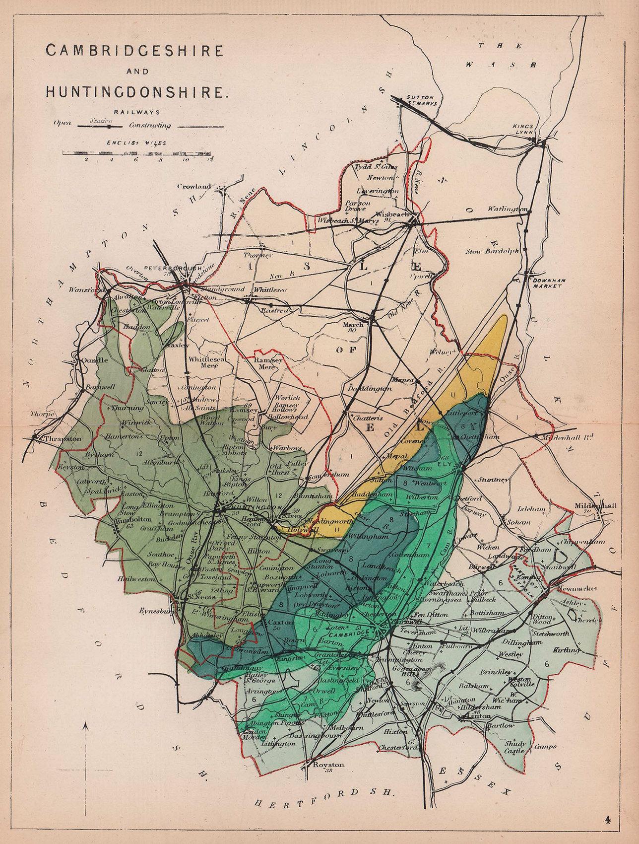 CAMBRIDGESHIRE & HUNTINGDONSHIRE antique geological county map. REYNOLDS 1864